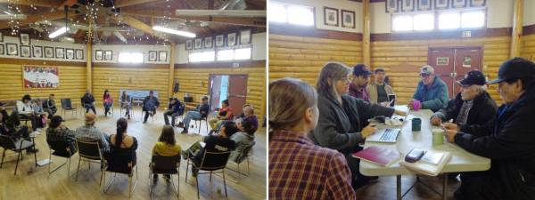 Storytelling evening, Old Crow Community Hall and the creation team at work
